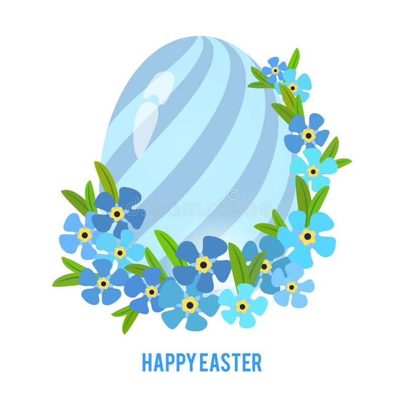 Αυγά Πάσχας και ξεχνώ-εγώ πλαίσιο λουλουδιών διανυσματική απεικόνιση