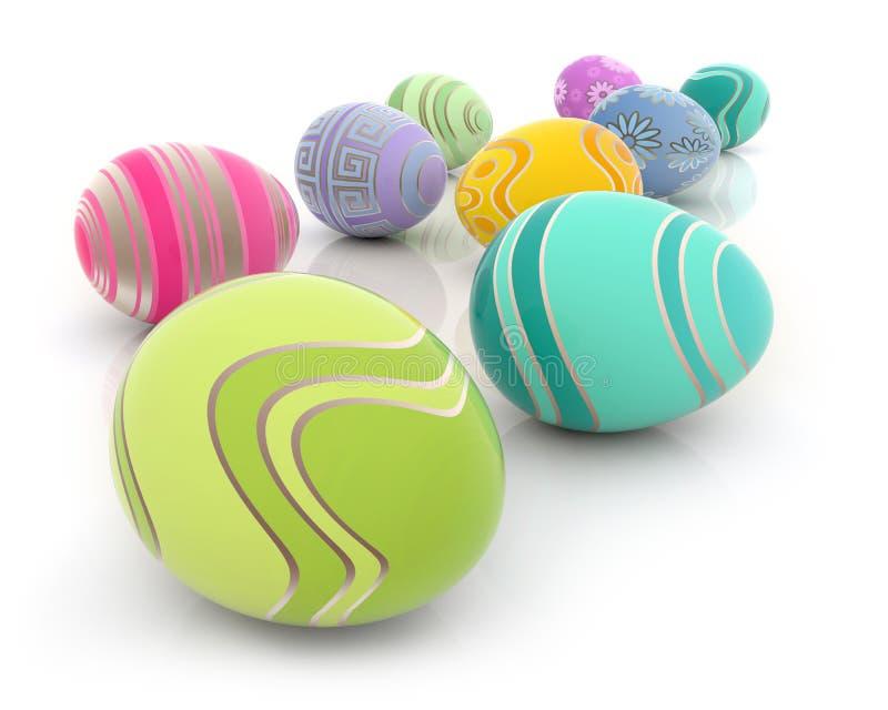 Αυγά Πάσχας με τα ζωηρόχρωμα σχέδια διανυσματική απεικόνιση