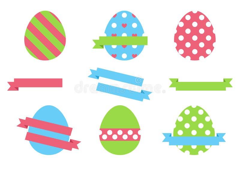 Αυγά Πάσχας που απομονώνονται στα άσπρα αυγά υποβάθρου για το σχέδιο διακοπών Πάσχας ελεύθερη απεικόνιση δικαιώματος