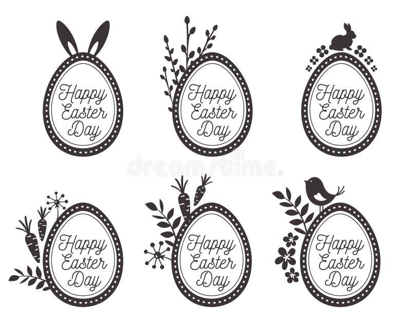 Αυγά Πάσχας που τίθενται με το κουνέλι, αυγά, πουλιά Ευτυχείς ετικέτες Πάσχας ελεύθερη απεικόνιση δικαιώματος