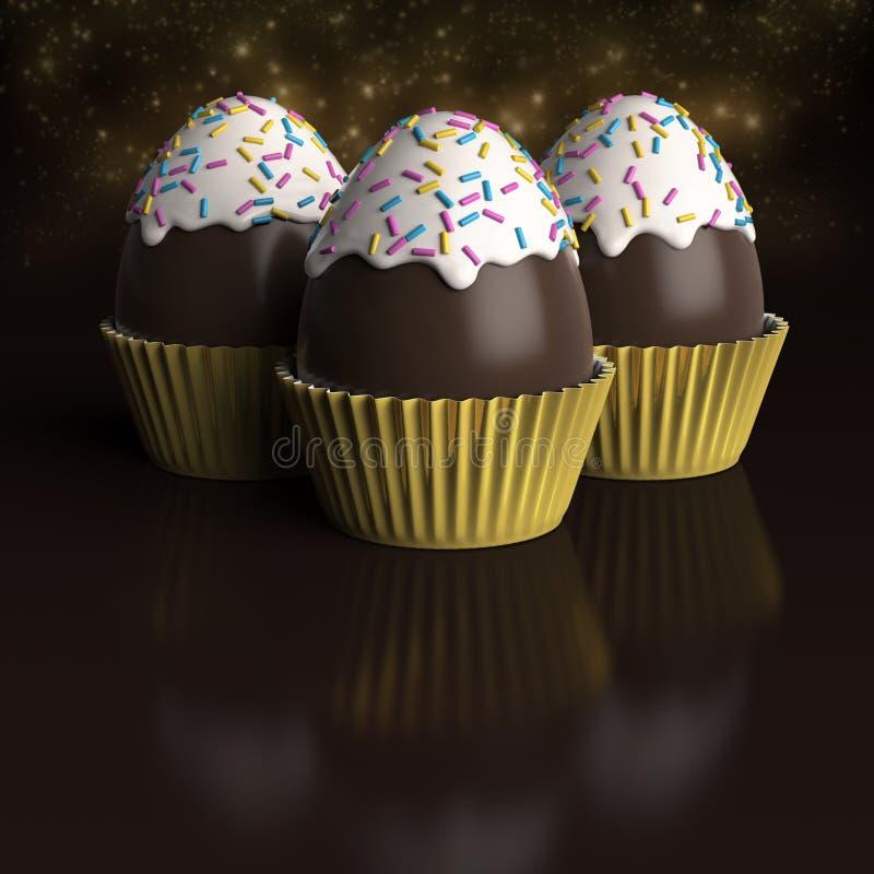3 αυγά Πάσχας σοκολάτας μέσα στις περιπτώσεις cupcake απεικόνιση αποθεμάτων