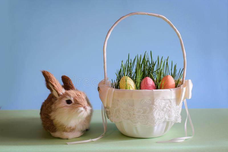 Αυγά Πάσχας στο καλάθι με τη χλόη και το κουνέλι στοκ φωτογραφία με δικαίωμα ελεύθερης χρήσης