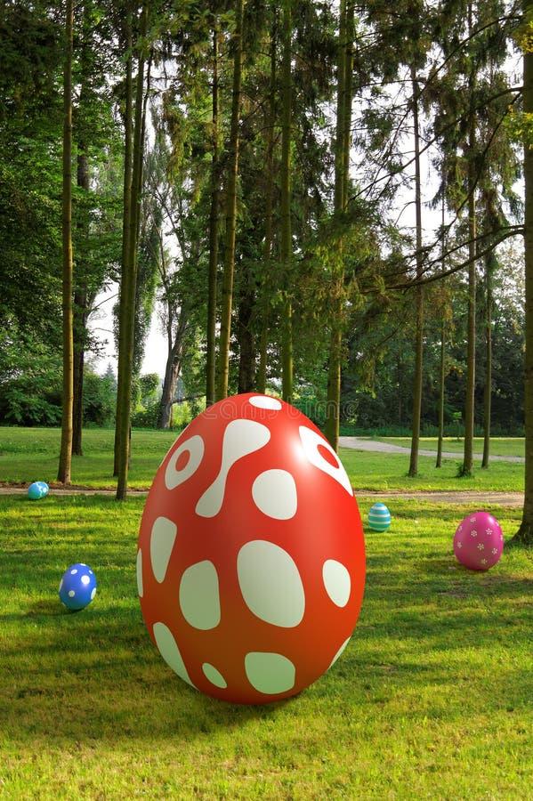 Αυγά Πάσχας στο πάρκο ελεύθερη απεικόνιση δικαιώματος