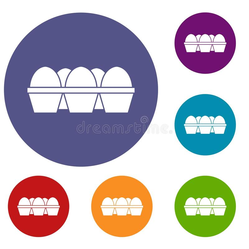 Αυγά στα εικονίδια συσκευασίας χαρτοκιβωτίων καθορισμένα απεικόνιση αποθεμάτων