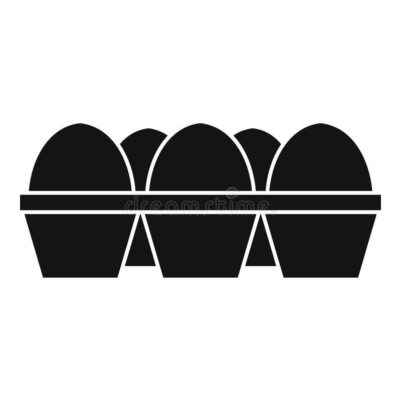 Αυγά στο εικονίδιο συσκευασίας χαρτοκιβωτίων, απλό ύφος διανυσματική απεικόνιση