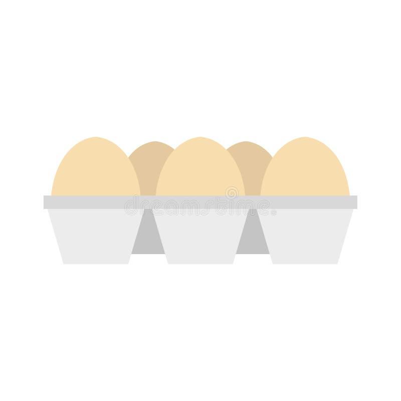 Αυγά στο εικονίδιο συσκευασίας χαρτοκιβωτίων, επίπεδο ύφος ελεύθερη απεικόνιση δικαιώματος