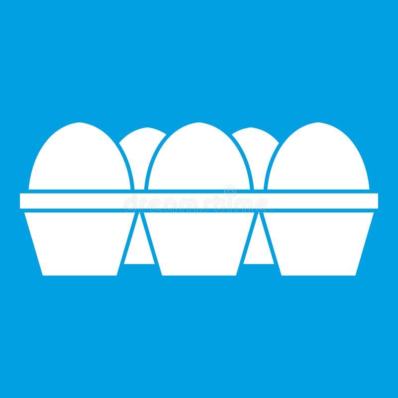 Αυγά στο λευκό εικονιδίων συσκευασίας χαρτοκιβωτίων διανυσματική απεικόνιση