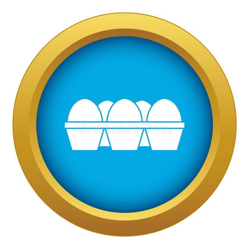 Αυγά στο μπλε διάνυσμα εικονιδίων συσκευασίας χαρτοκιβωτίων που απομονώνεται ελεύθερη απεικόνιση δικαιώματος