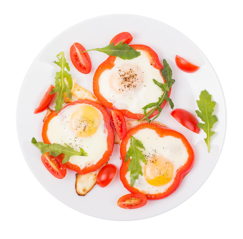Αυγά στο πιπέρι σε ένα πιάτο στοκ εικόνα με δικαίωμα ελεύθερης χρήσης