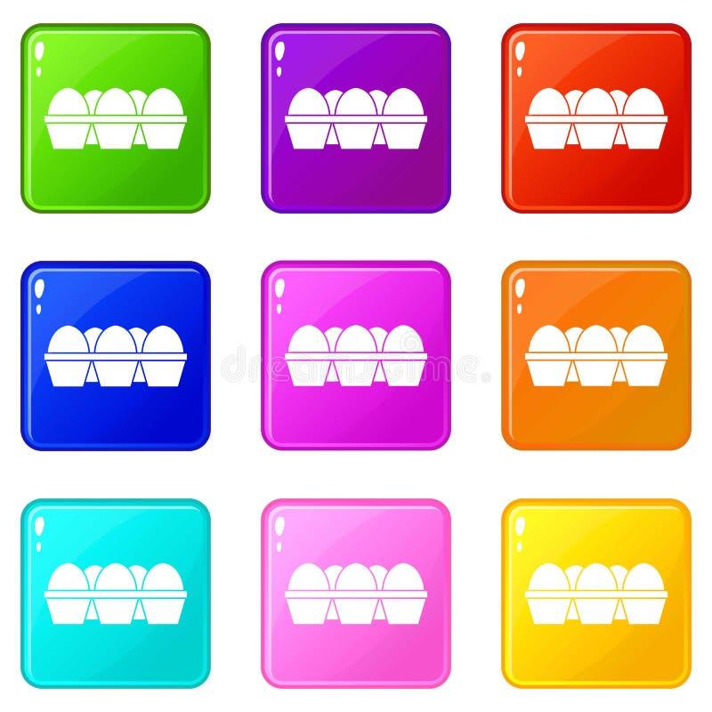 Αυγά στο σύνολο 9 συσκευασίας χαρτοκιβωτίων απεικόνιση αποθεμάτων