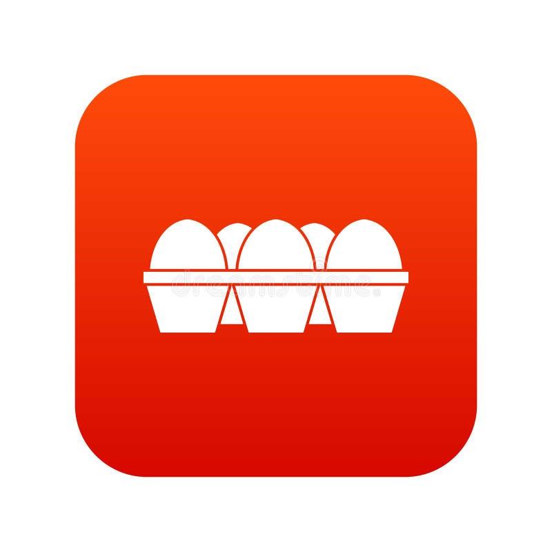 Αυγά στο ψηφιακό κόκκινο εικονιδίων συσκευασίας χαρτοκιβωτίων ελεύθερη απεικόνιση δικαιώματος