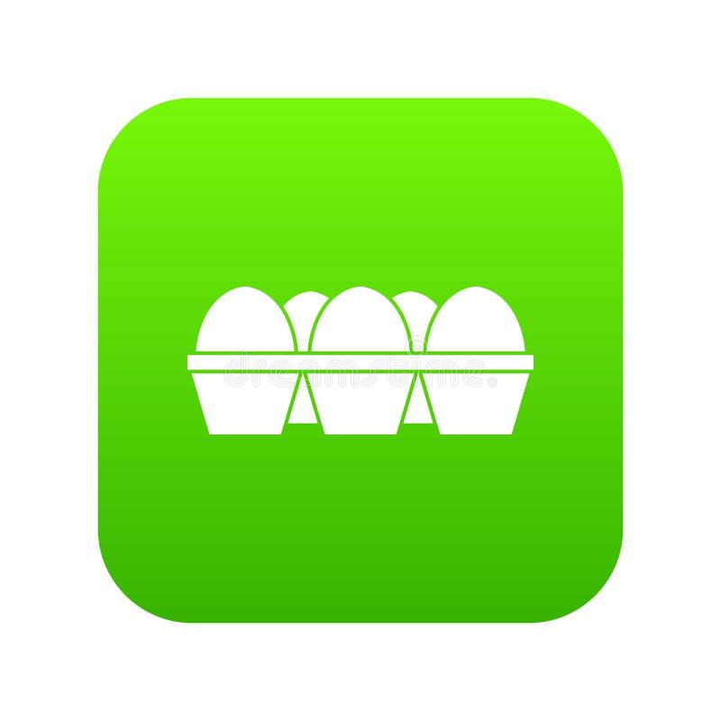 Αυγά ψηφιακό σε πράσινο εικονιδίων συσκευασίας χαρτοκιβωτίων απεικόνιση αποθεμάτων