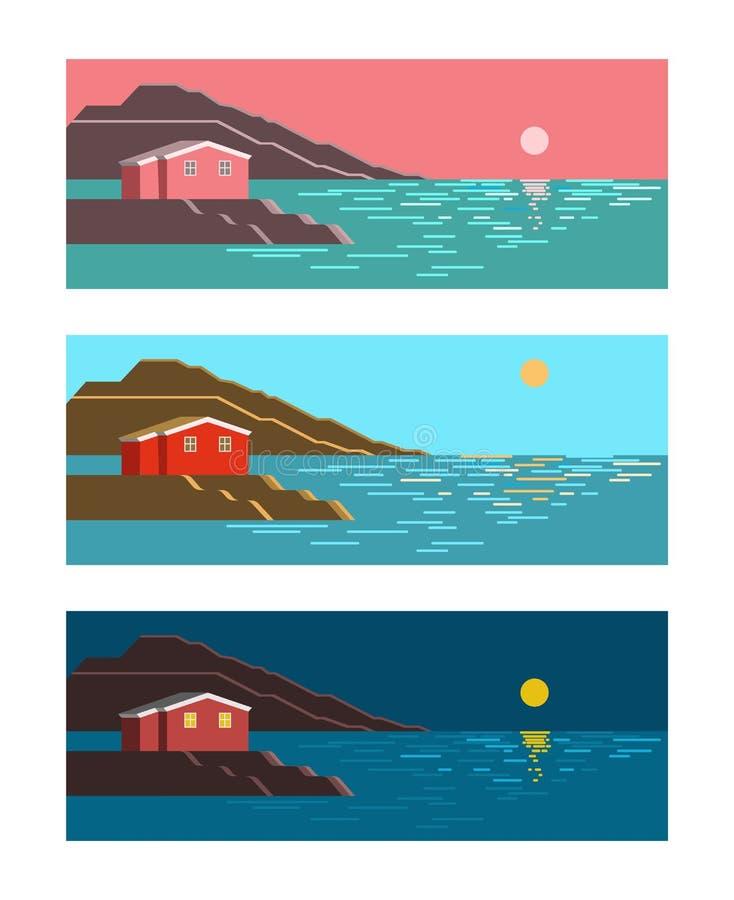 Αυγή ήλιων θερινής θάλασσας, μεσημέρι και ζωηρόχρωμο τοπίο νύχτας ελεύθερη απεικόνιση δικαιώματος