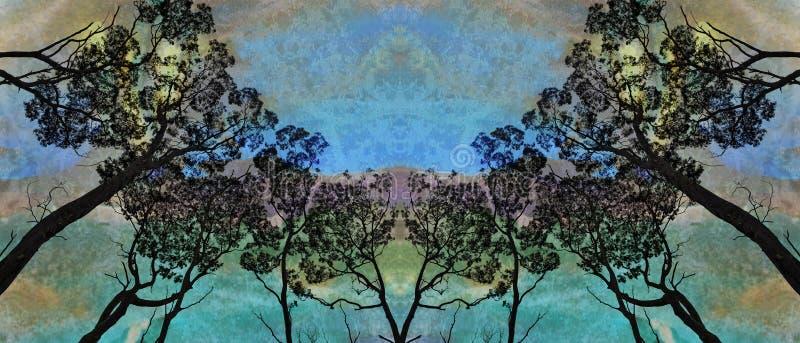 Αυγή βραδιού στο δάσος διανυσματική απεικόνιση