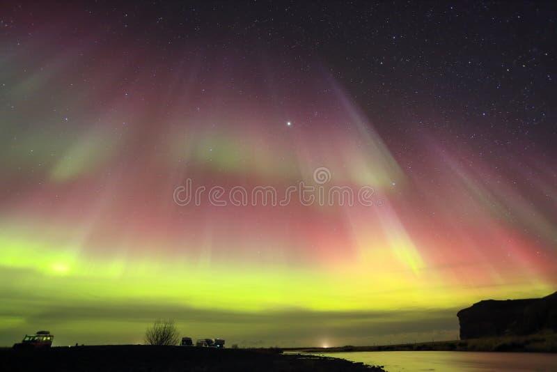 Αυγή Borealis, βόρεια φω'τα στοκ εικόνα