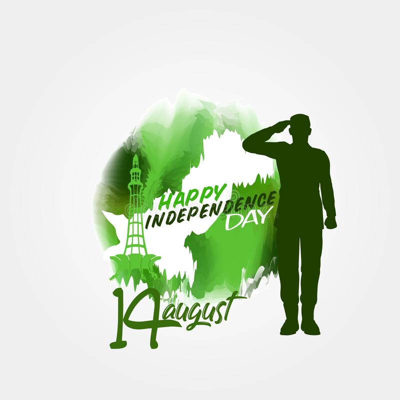 14 Αυγούστου διανυσματικό σχέδιο υδατοχρώματος ημέρας της ανεξαρτησίας του Πακιστάν διανυσματική απεικόνιση