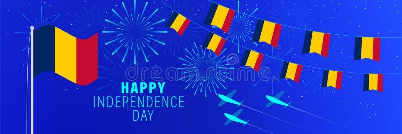 11 Αυγούστου ευχετήρια κάρτα ημέρας της ανεξαρτησίας του Chad Υπόβαθρο εορτασμού με τα πυροτεχνήματα, τις σημαίες, το κοντάρι σημ ελεύθερη απεικόνιση δικαιώματος