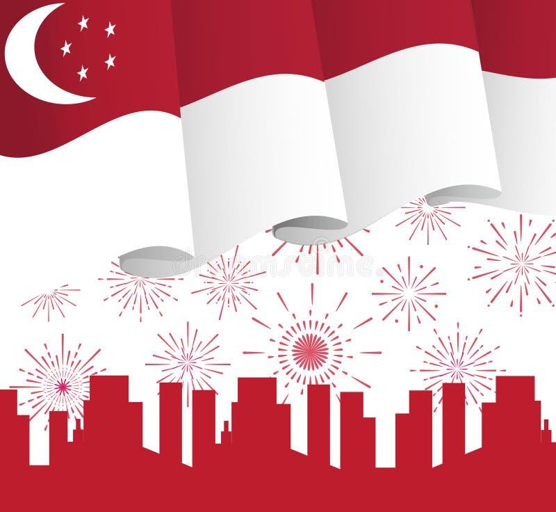 9 Αυγούστου ημέρα της ανεξαρτησίας της Σιγκαπούρης Διάνυσμα έννοιας εθνικής μέρας της Σιγκαπούρης με τη σημαία, ελεύθερη απεικόνιση δικαιώματος