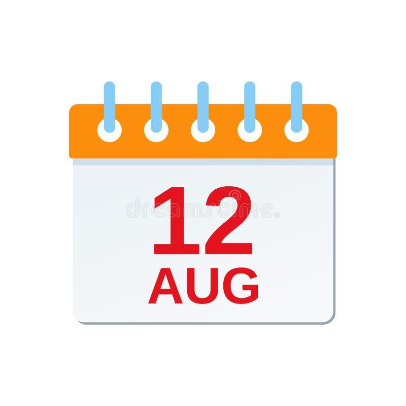 12 Αυγούστου ημερολογιακό εικονίδιο Ημέρα του Καναδά r διανυσματική απεικόνιση