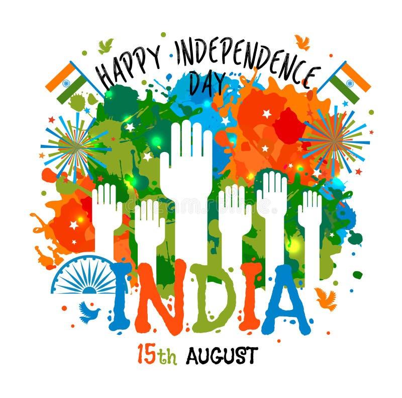 15 Αυγούστου, η έννοια εορτασμών ημέρας της ανεξαρτησίας της Ινδίας με τα χρώματα λεκιάζει και παραδίδει το θέμα χρώματος εθνικών απεικόνιση αποθεμάτων