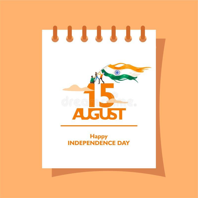 15 Αυγούστου κείμενο στο ημερολόγιο Για το λογότυπο, το εικονίδιο και το σύμβολο της ημέρας της ανεξαρτησίας της Ινδίας Χαιρετισμ απεικόνιση αποθεμάτων