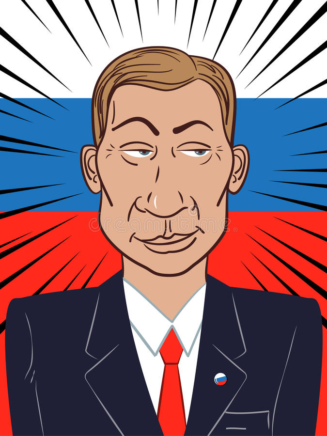 15 Αυγούστου 2017: Πορτρέτο του Προέδρου της Ρωσικής Ομοσπονδίας Vladimir Putin στο ρωσικό υπόβαθρο σημαιών επίσης corel σύρετε τ απεικόνιση αποθεμάτων