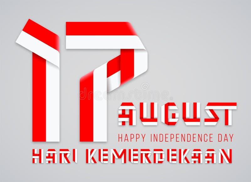 17 Αυγούστου, συγχαρητήριο σχέδιο ημέρας της ανεξαρτησίας της Ινδονησίας με τα ινδονησιακά χρώματα σημαιών r ελεύθερη απεικόνιση δικαιώματος