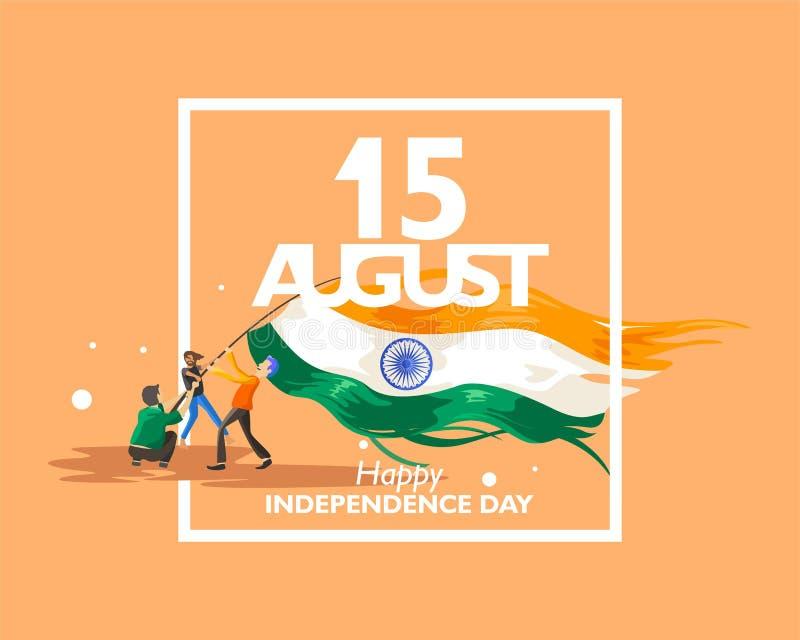 15 Αυγούστου σύμβολο, λογότυπο και εικονίδιο κειμένων για τη ημέρα της ανεξαρτησίας της Ινδίας με τον ινδικό κυματισμό σημαιών Γι ελεύθερη απεικόνιση δικαιώματος