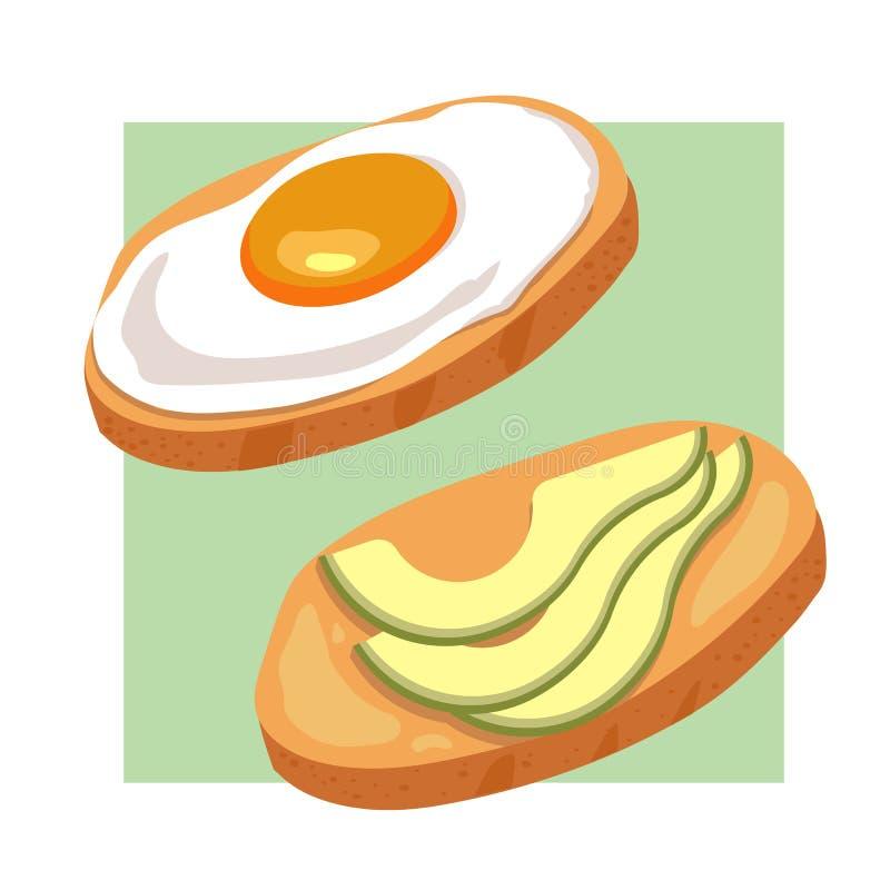 Αυγό, εύγευστο σάντουιτς φρυγανιάς αβοκάντο φιαγμένο από φρέσκο ψημένο ψωμί με το τηγανισμένο αυγό, φέτες του αβοκάντο και που κα ελεύθερη απεικόνιση δικαιώματος