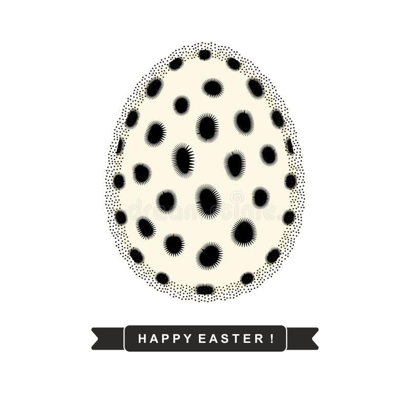 Αυγό Πάσχας με το αφηρημένο μονοχρωματικό σχέδιο και κορδέλλα με το κείμενο ` ευτυχές Πάσχα! ` που απομονώνεται στο άσπρο υπόβαθρ διανυσματική απεικόνιση