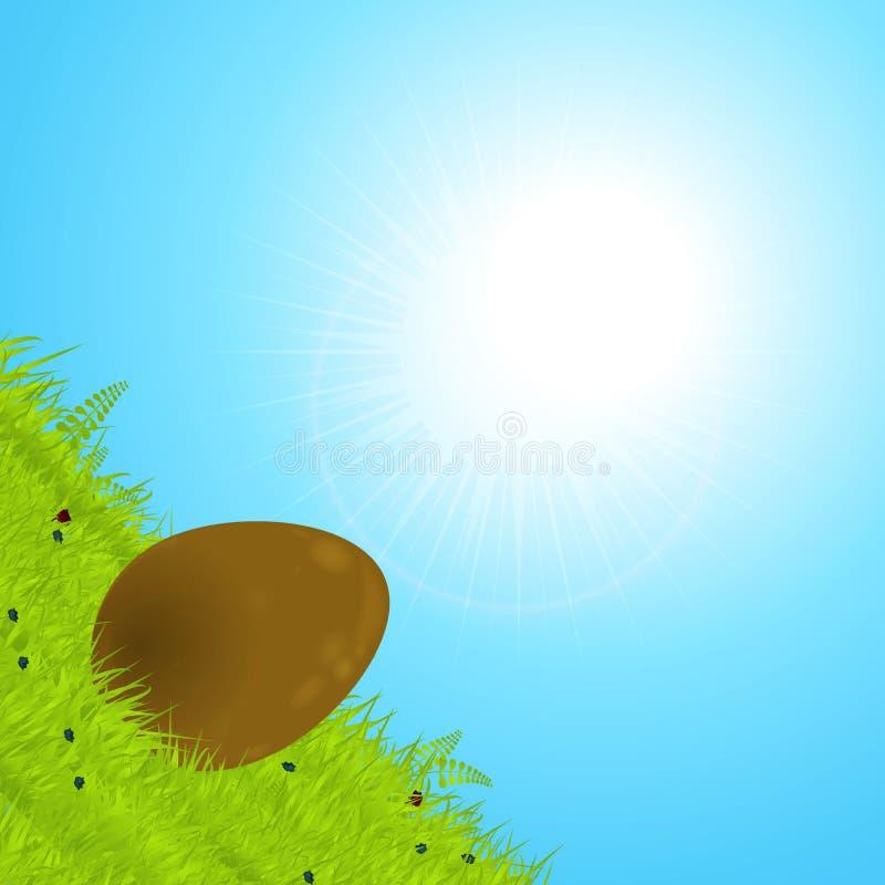 Αυγό Πάσχας σοκολάτας που κυλά κάτω το λόφο απεικόνιση αποθεμάτων
