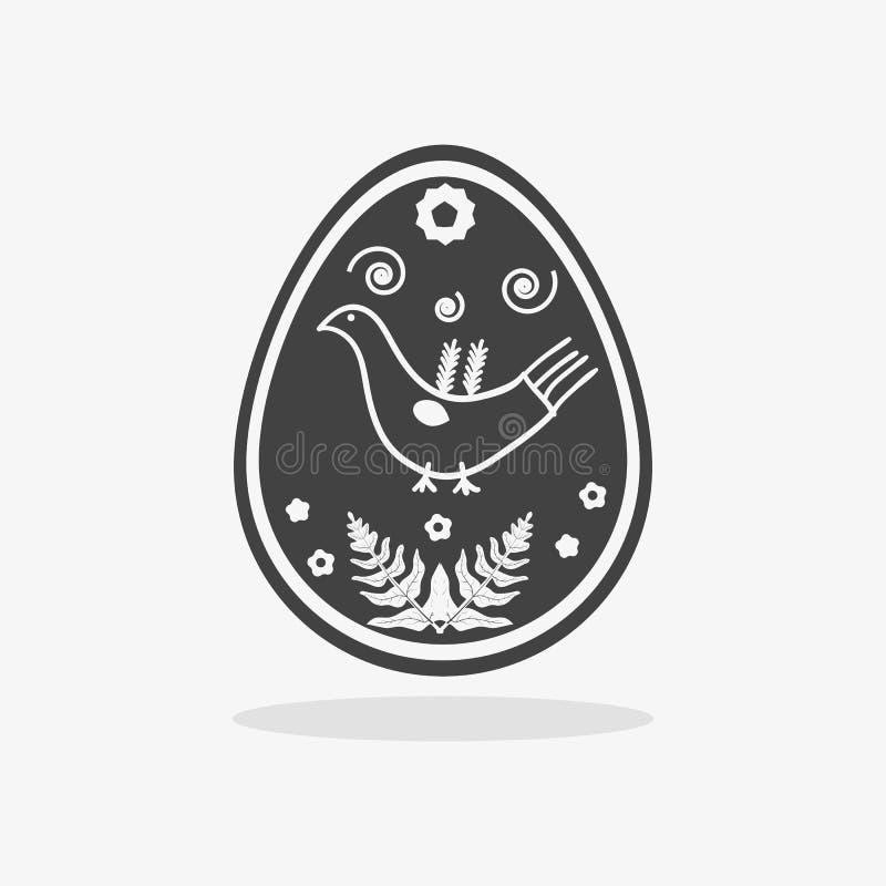 Αυγό Πάσχας στο μαύρο άσπρο ύφος απεικόνιση αποθεμάτων