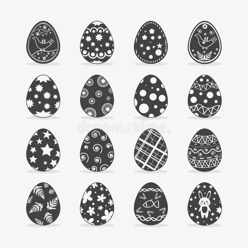 Αυγό Πάσχας στο μαύρο άσπρο ύφος διανυσματική απεικόνιση