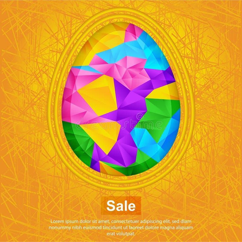Αυγό Πάσχας στο πορτοκαλί υπόβαθρο Φωτεινή αφηρημένη επιφάνεια τριγώνων του αυγού το πρόσθετο έμβλημα είναι μπορεί αλλαγμένος να  διανυσματική απεικόνιση