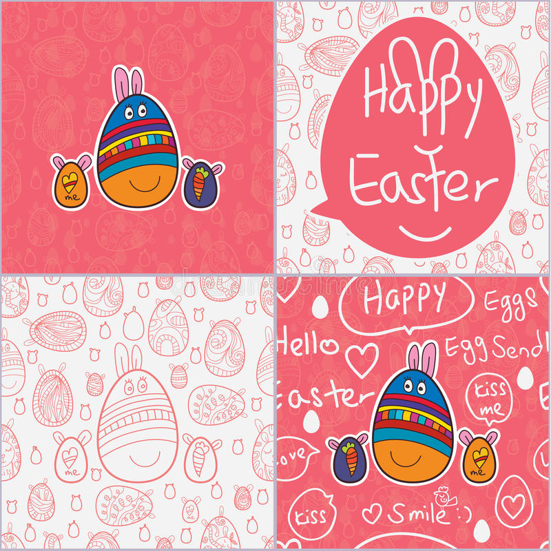 Αυγών άνευ ραφής σχέδιο καρτών Πάσχας χαριτωμένο διανυσματική απεικόνιση