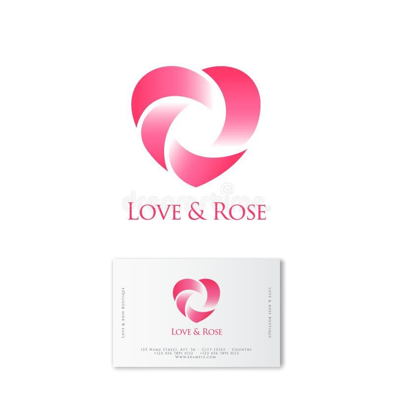 Αυξήθηκε και λογότυπο καρδιών κατάστημα απεικόνισης λουλουδιών smellcomp Ο συνδυασμός ροδαλού και καρδιάς μοιάζει με το λουλούδι  διανυσματική απεικόνιση