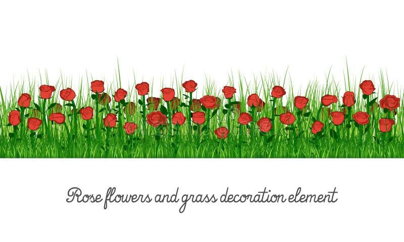 Αυξήθηκε λουλούδια και στοιχείο διακοσμήσεων χλόης διανυσματική απεικόνιση