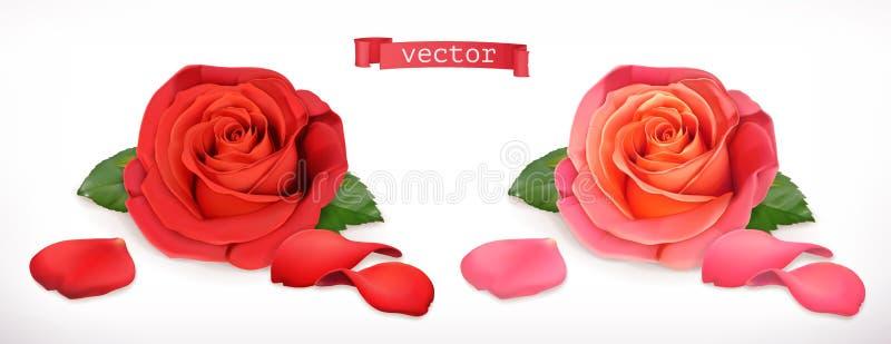 Αυξήθηκε λουλούδι τρισδιάστατο διάνυσμα ε&iot διανυσματική απεικόνιση