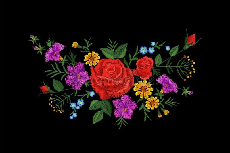 Αυξήθηκε μπάλωμα σύστασης κεντητικής λουλουδιών Κόκκινο τομέων λουλουδιών χορταριών υφαντικό τυπωμένων υλών περίκομψο illustrati  διανυσματική απεικόνιση