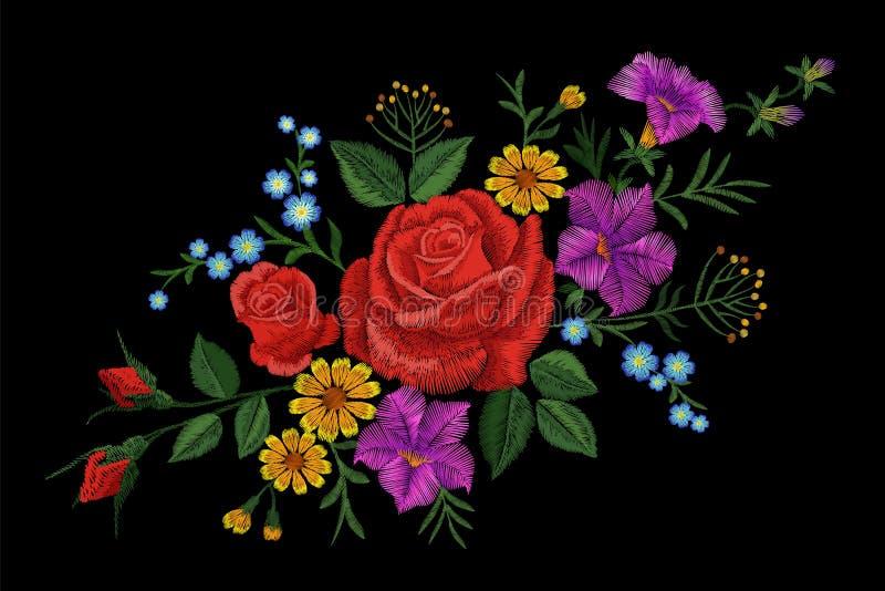 Αυξήθηκε μπάλωμα σύστασης κεντητικής λουλουδιών Κόκκινο τομέων λουλουδιών χορταριών υφαντικό τυπωμένων υλών περίκομψο illustrati  ελεύθερη απεικόνιση δικαιώματος