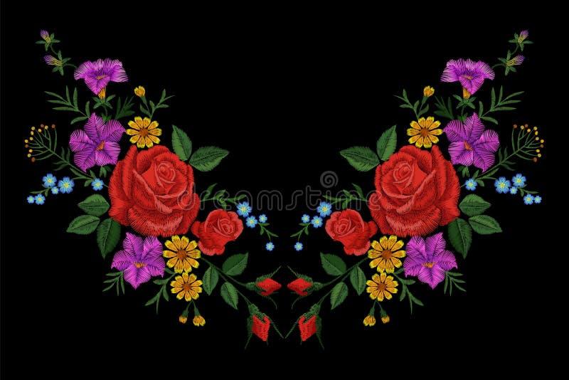 Αυξήθηκε μπάλωμα σύστασης κεντητικής λουλουδιών Κόκκινο τομέων λουλουδιών χορταριών υφαντικό τυπωμένων υλών περίκομψο illustrati  απεικόνιση αποθεμάτων