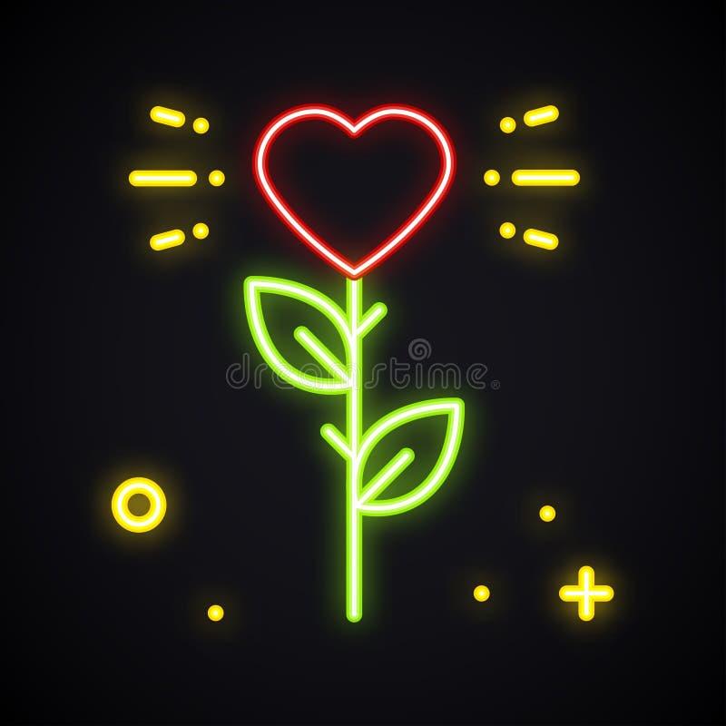 Αυξήθηκε σημάδι νέου Φωτεινό λουλούδι με τη μορφή καρδιών στο σκοτάδι Ελαφρύ σύμβολο αγάπης Κορίτσι, λέσχη νύχτας, κόμμα, θέμα δε διανυσματική απεικόνιση