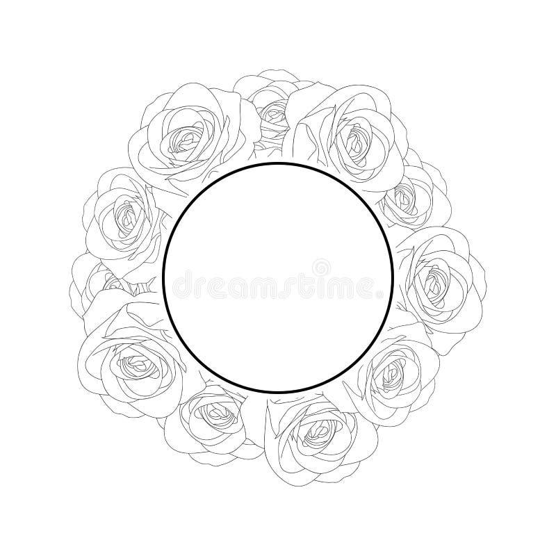 Αυξήθηκε στεφάνι εμβλημάτων περιλήψεων - Rosa που απομονώθηκε στο άσπρο υπόβαθρο διάνυσμα βαλεντίνων αγάπης απεικόνισης ημέρας ζε διανυσματική απεικόνιση
