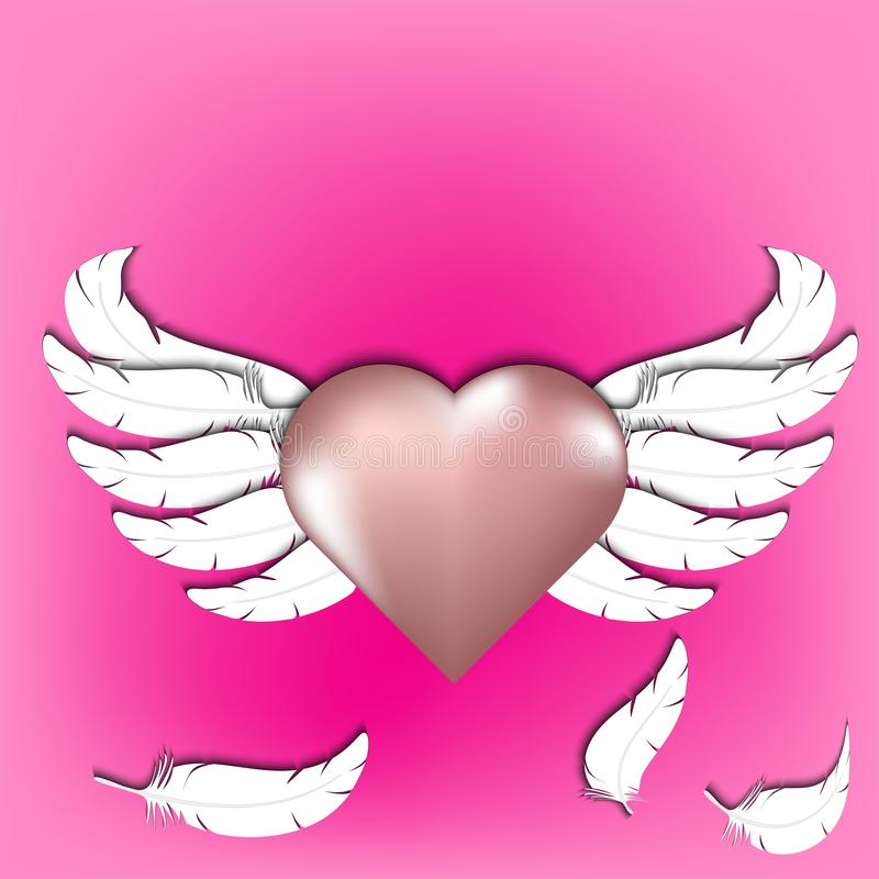 Αυξήθηκε χρυσή καρδιά με κομμένα τα έγγραφο άσπρα αφηρημένα φτερά φτερών, διανυσματική απεικόνιση ημέρας βαλεντίνων απεικόνιση αποθεμάτων