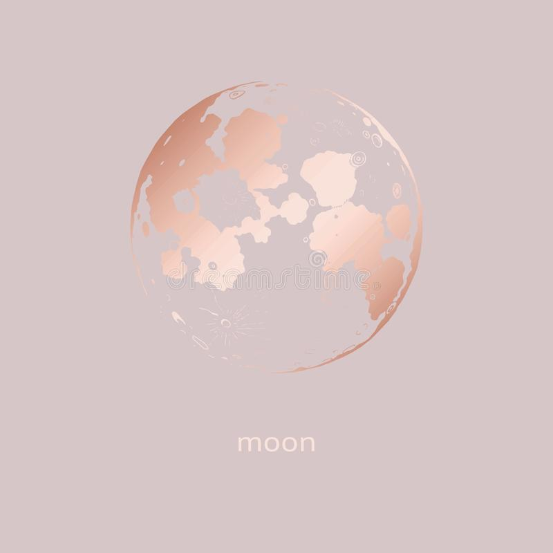 Αυξήθηκε χρυσός Διανυσματικό φεγγάρι για το σχέδιο και τη διακόσμηση απεικόνιση αποθεμάτων