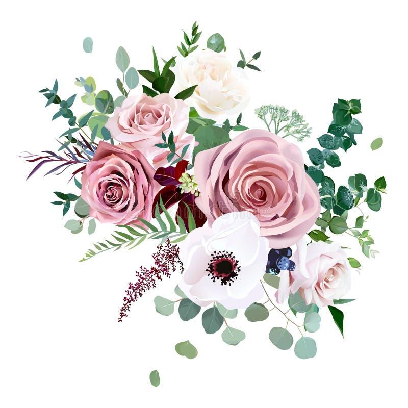 Αυξήθηκε, anemone, χλωμή γαμήλια ανθοδέσμη σχεδίου λουλουδιών διανυσματική ελεύθερη απεικόνιση δικαιώματος