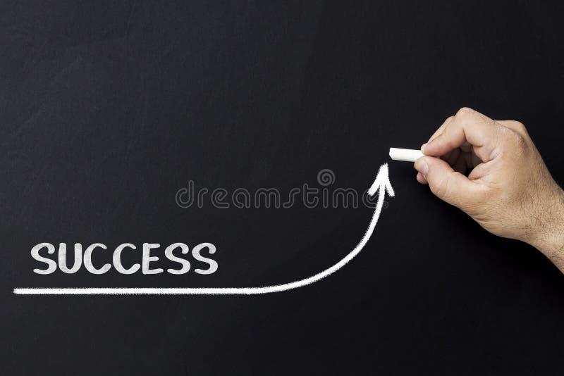 Αυξανόμενη έννοια επιτυχίας Ο επιχειρηματίας σύρει την επιταχύνοντας γραμμή βελτίωσης της επιτυχίας στοκ εικόνα με δικαίωμα ελεύθερης χρήσης