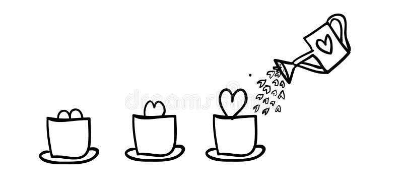 Αυξανόμενη αγάπη σε ένα δοχείο λουλουδιών ελεύθερη απεικόνιση δικαιώματος