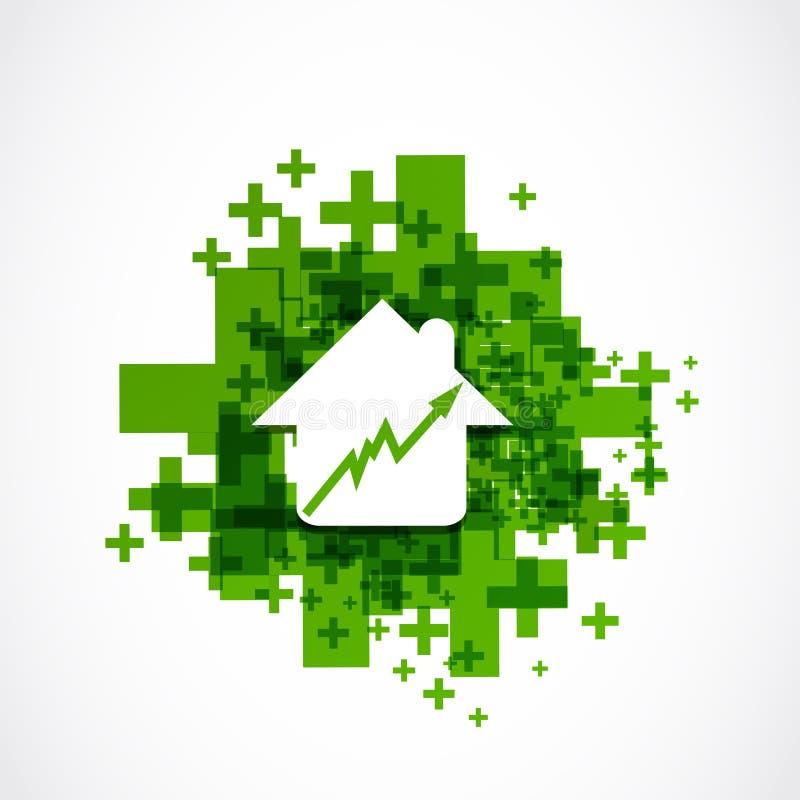 Αυξανόμενη θετική επιχειρησιακή έννοια τιμών κατοικίας διανυσματική απεικόνιση