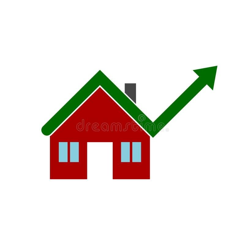 Αυξανόμενη στεγαστική αγορά, αύξηση τιμής κατοικίας διανυσματική απεικόνιση